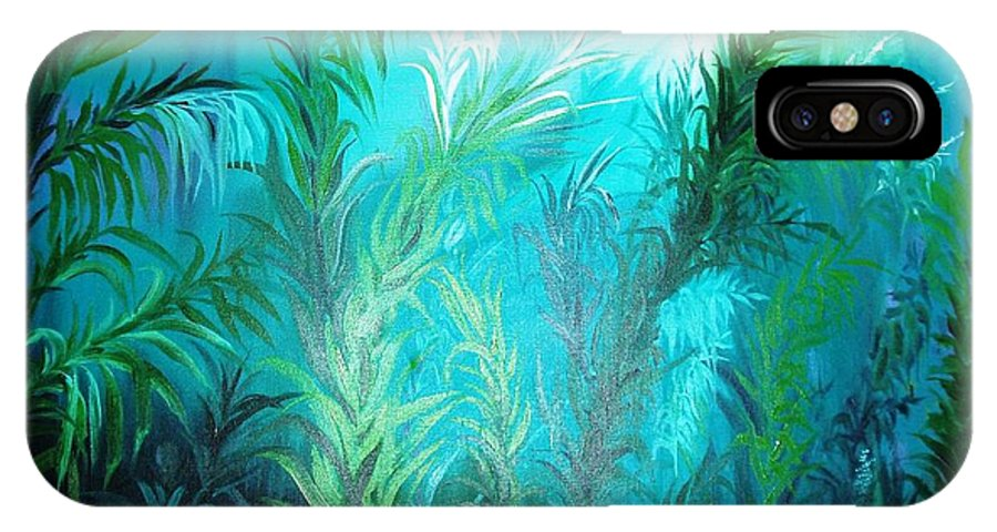 Ocean IPhone X Case featuring the painting Ocean Plants by Rupa Prakash
