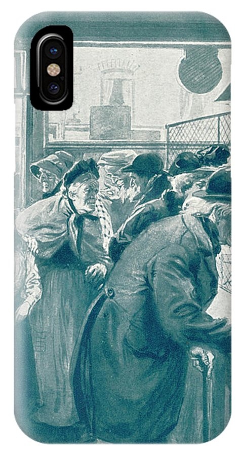 Old IPhone X Case featuring the drawing Old Age Pensions Are Introduced by Mary Evans Picture Library