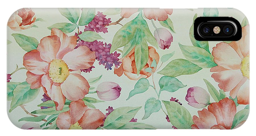 Watercolor IPhone X Case featuring the painting Orange Peonies by Xiao Qin