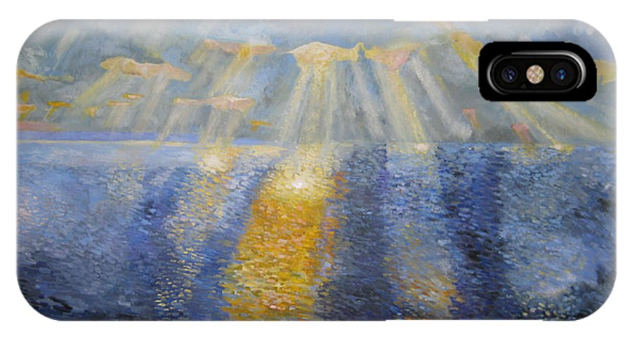 Ocean IPhone X Case featuring the painting Palos Verdes Magic by Evelyne Barbier