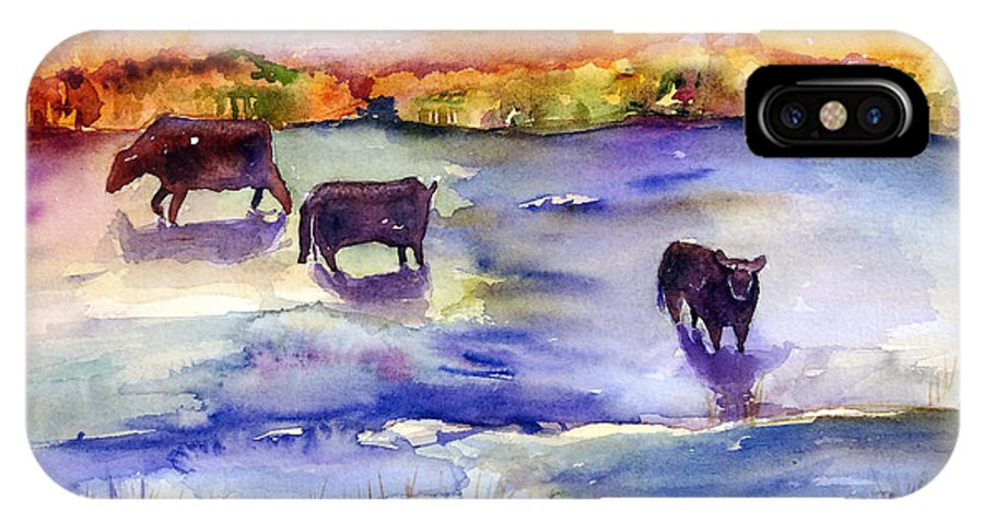 Pasture IPhone X Case featuring the painting Pastureland by Renee Chastant