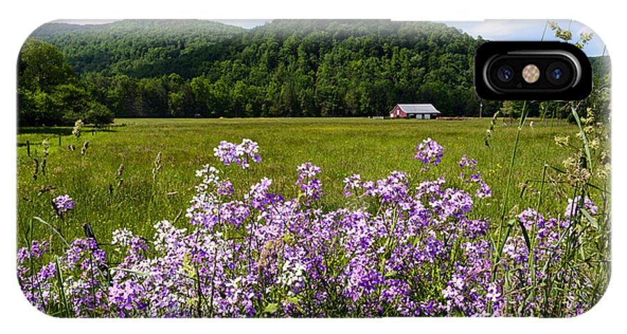 Phlox IPhone X Case featuring the photograph Phlox And Barn by Thomas R Fletcher