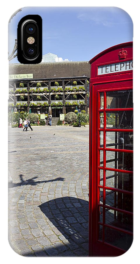 Red IPhone X / XS Case featuring the photograph Phone Box London by David Pyatt