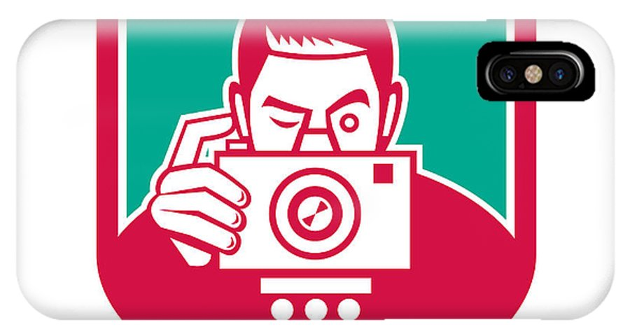 Photographer IPhone X / XS Case featuring the digital art Photographer Shooting Camera Shield Retro by Aloysius Patrimonio