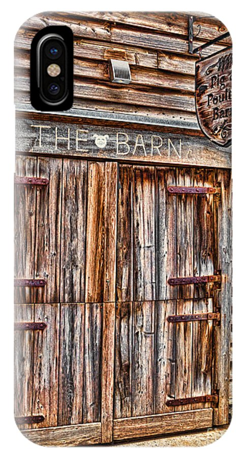 Old IPhone X Case featuring the photograph Pig And Poultry Barn by Les Palenik