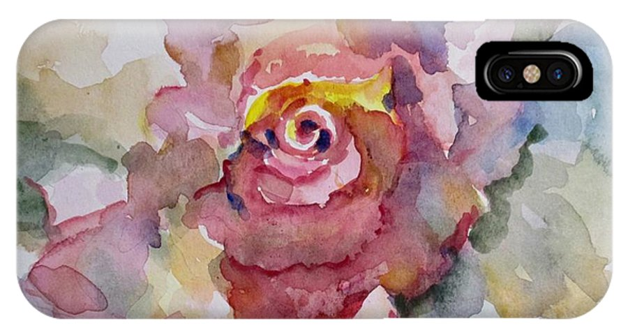 Rose IPhone X Case featuring the painting Pink Rose by Delilah Smith