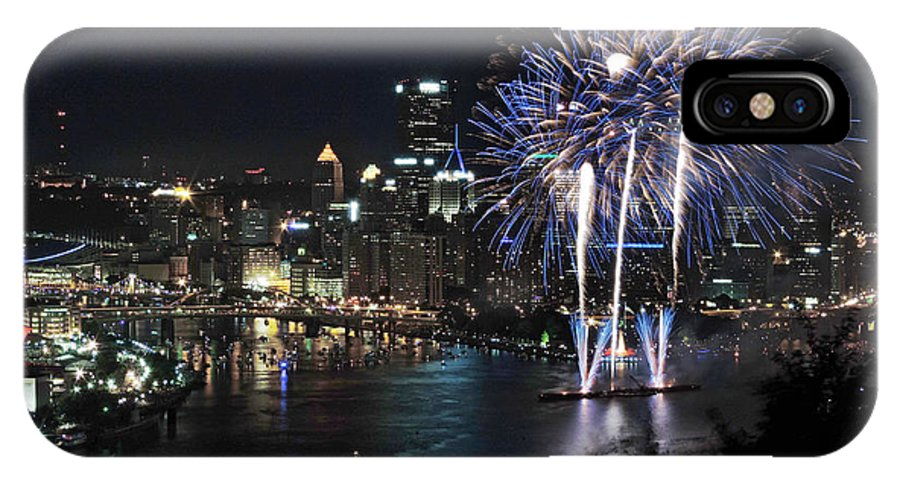 City IPhone X Case featuring the photograph Pittsburgh Fireworks At Night by Cityscape Photography