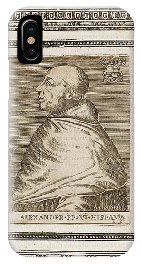 Pope IPhone X Case featuring the drawing Pope Alexander Vi (roderigo Borgia) by Mary Evans Picture Library