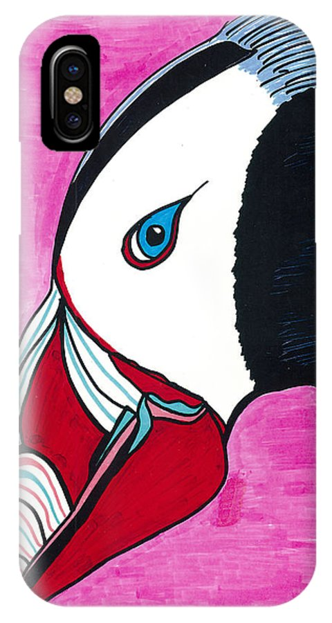 Puffin IPhone X Case featuring the drawing Puffin by Don Koester