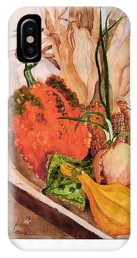 Watercolor IPhone X Case featuring the painting Pumpkin In Bowl by Sandra Stone