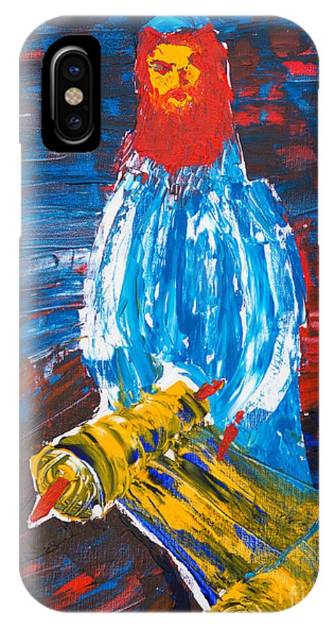 Jewish Art IPhone X Case featuring the painting Rabbi And Torah by Walt Brodis