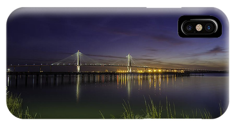 Bridge IPhone X Case featuring the photograph Rocky Shore In Charleston Sc by Dale Powell