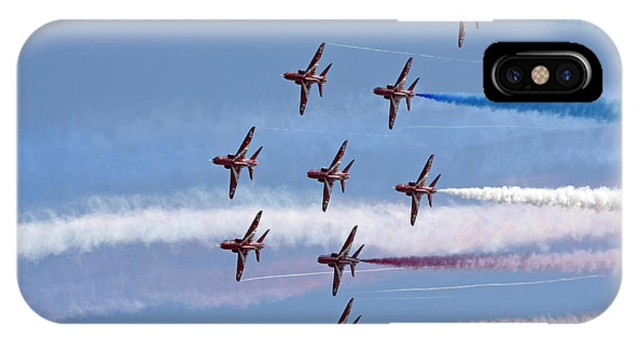 Aerobatics IPhone X Case featuring the photograph Red Arrows Flying In Formation by Steve Ball