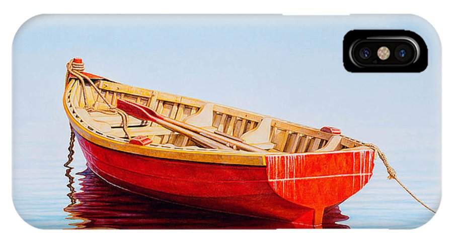 Fishing IPhone X Case featuring the painting Red Boat by Horacio Cardozo