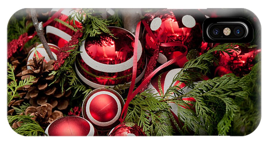 Balls IPhone X Case featuring the digital art Red Christmas Balls by Carol Ailles