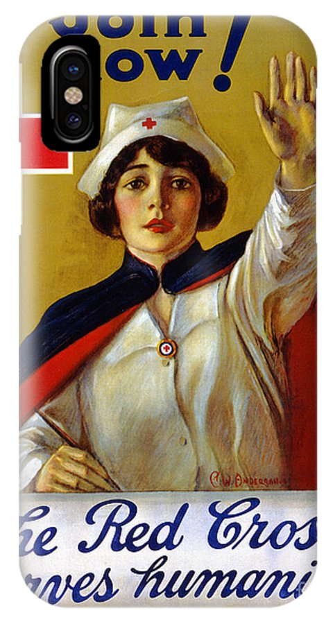 1917 IPhone X Case featuring the photograph RED CROSS POSTER, c1917 by Granger