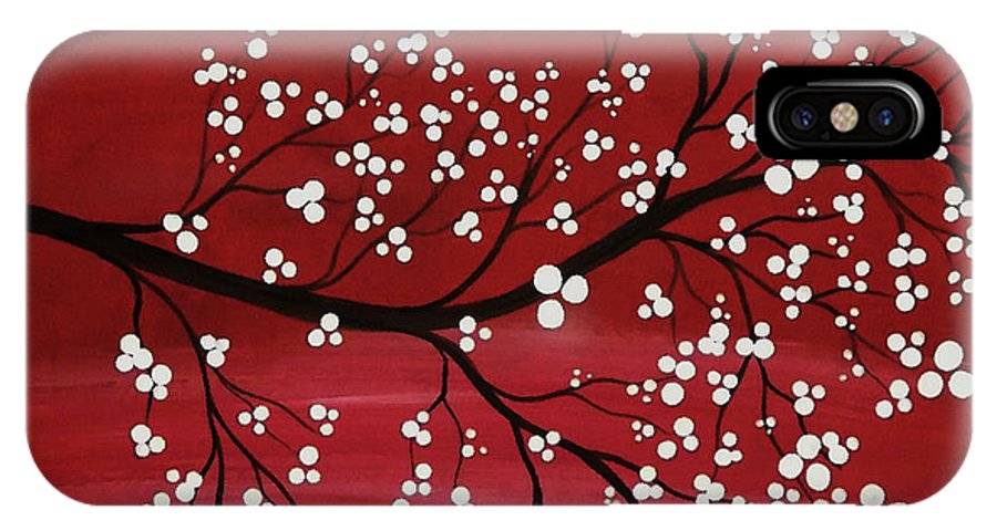 Japanese Cherry Blossom Paintings IPhone X / XS Case featuring the painting Red Japanese Cherry Blossom by Katie Slaby