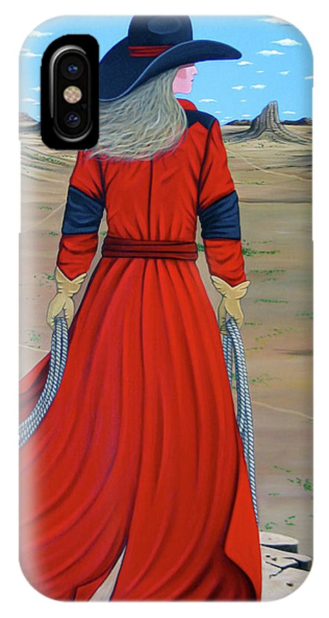 Cowgirl IPhone X Case featuring the painting Red by Lance Headlee