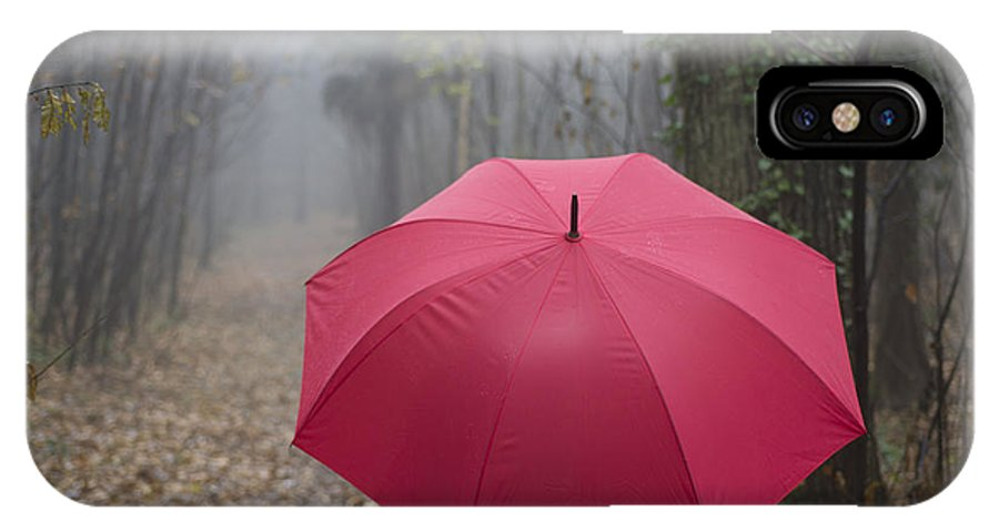 Woman IPhone X Case featuring the photograph Red Umbrella In The Forest by Mats Silvan