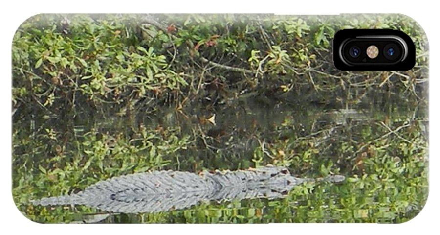 Resting Gator IPhone X Case featuring the photograph Resting Gator by Warren Thompson