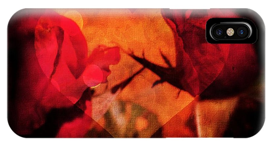 Red Rose With A Heart IPhone X Case featuring the photograph Rose Heart by Ernestine Manowarda