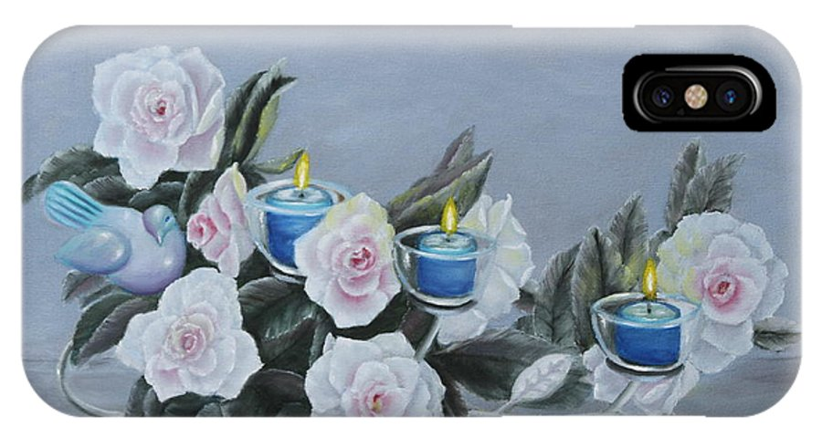 Still IPhone X Case featuring the painting Roses And Candlelight by Lou Magoncia