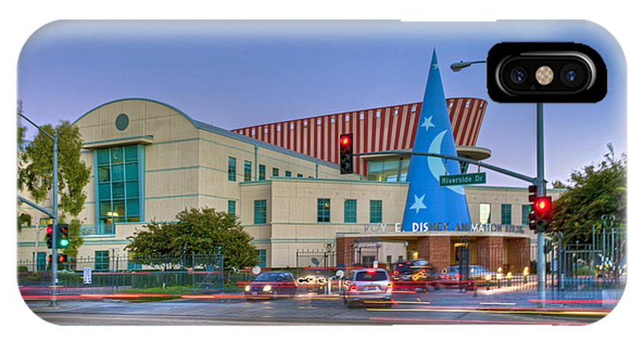 Roy E. Disney Animation Building In Burbank IPhone X Case featuring the photograph Roy E. Disney Animation Building In Burbank Ca. by David Zanzinger