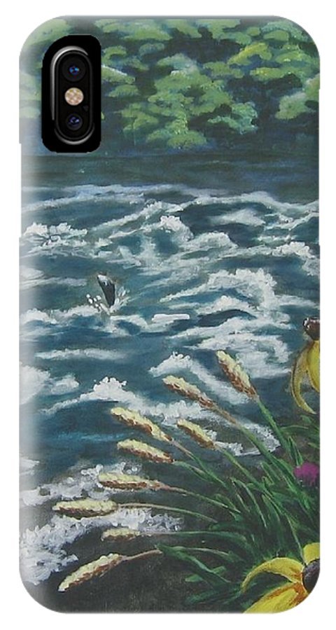 Landscape IPhone X Case featuring the painting Rushing Water by Suzanne Theis
