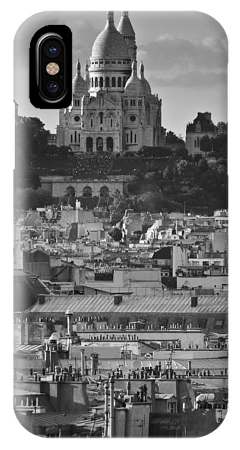 Sacre Coeur IPhone X Case featuring the photograph Sacre Coeur Over Rooftops by Gary Eason