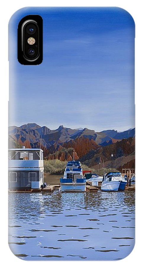 Waterscape IPhone X / XS Case featuring the painting Saguaro Lake Left by Hugh Blanding