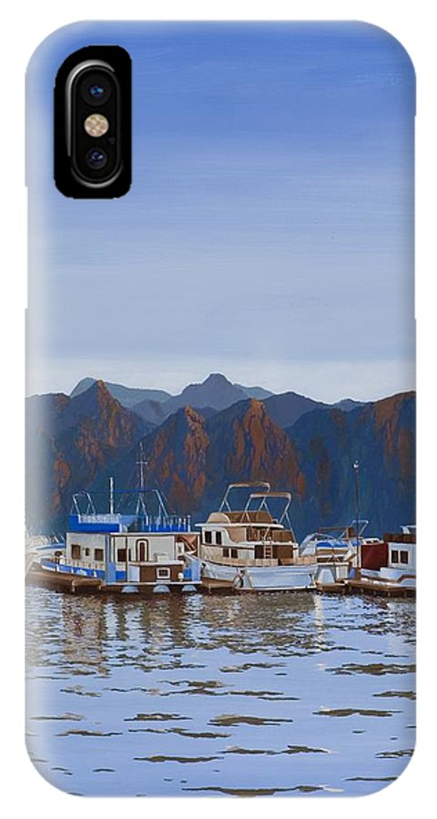 Waterscape IPhone X / XS Case featuring the painting Saguaro Lake Right by Hugh Blanding