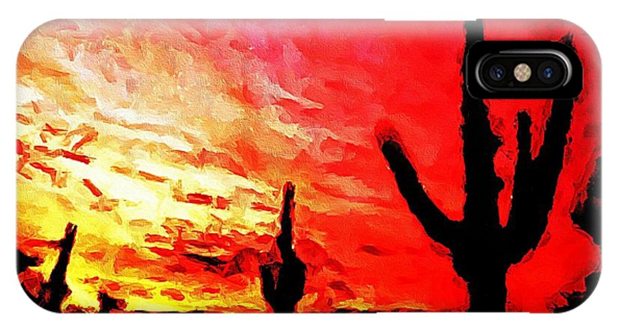 Saguaro Sunset IPhone X Case featuring the photograph Saguaro Sunset by Barbara Griffin