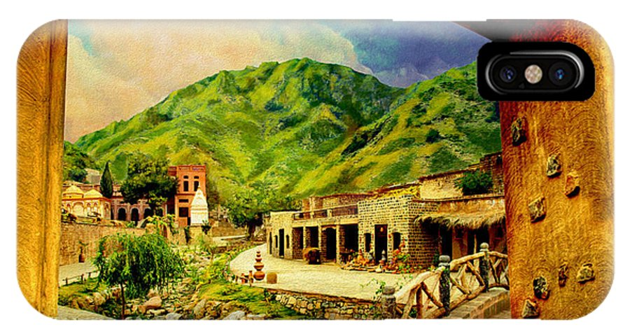Pakistan IPhone X / XS Case featuring the painting Saidpur Village by Catf