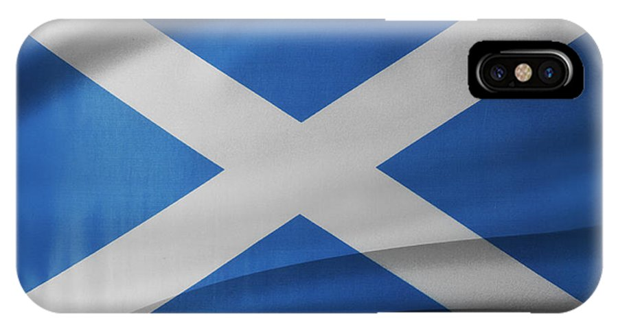 Background IPhone X / XS Case featuring the photograph Scottish Flag by Les Cunliffe