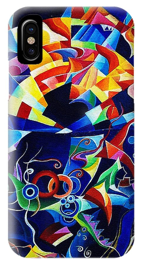 Alexander Scriabin Piano Sonata No.10 Acrylic Abstract Music IPhone X Case featuring the painting Scriabin by Wolfgang Schweizer