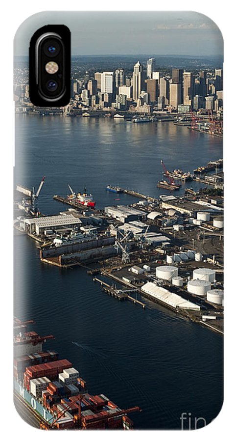 Elliott Bay IPhone X Case featuring the photograph Seattle Skyline And South Industrial Area by Jim Corwin