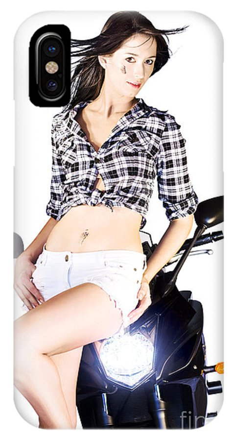 Active IPhone X Case featuring the photograph Sexy Biker Girl by Jorgo Photography - Wall Art Gallery