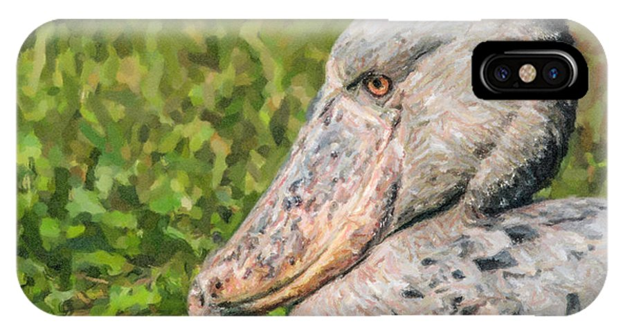 Shoebill IPhone X Case featuring the digital art Shoebill Balaeniceps Rex Uganda Africa by Liz Leyden
