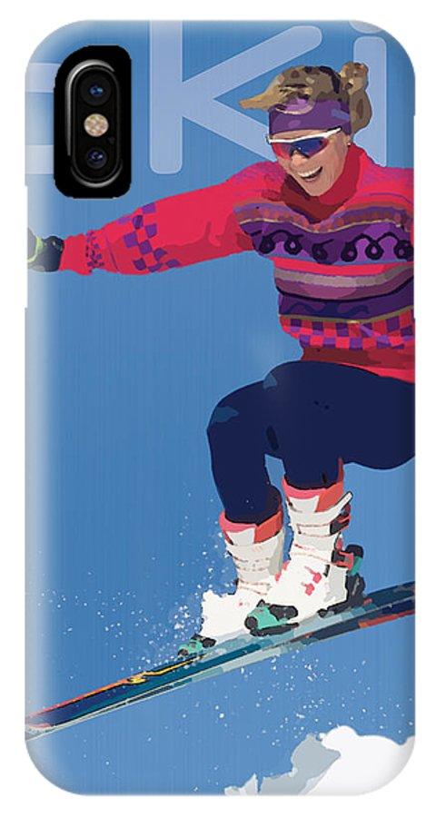 Snow IPhone X Case featuring the digital art Ski 3 by Anita Hubbard