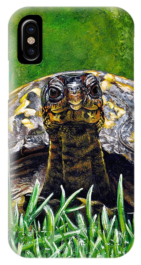 Turtle IPhone X Case featuring the painting Smile by Cara Bevan