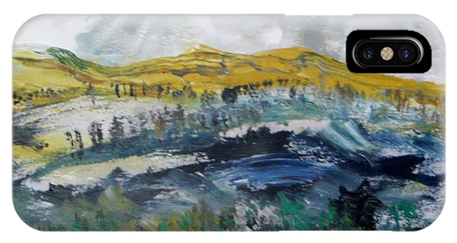 Hills IPhone X Case featuring the painting Snelling Hills by Edward Wolverton