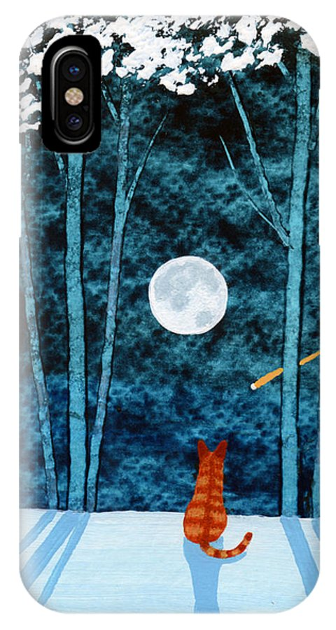 Orange IPhone X Case featuring the painting Snowy Trees by Todd Young