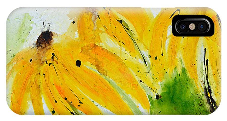Abstract Art IPhone X Case featuring the painting Sonnenhut - Floral Painting by Ismeta Gruenwald