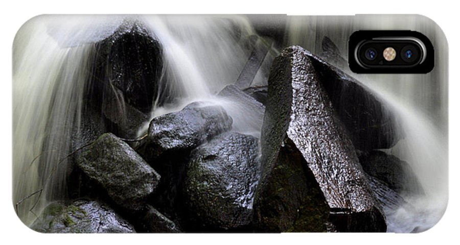 Water Waterfall Wet Rocks Splash IPhone X Case featuring the pyrography Splash by Jeff Monat