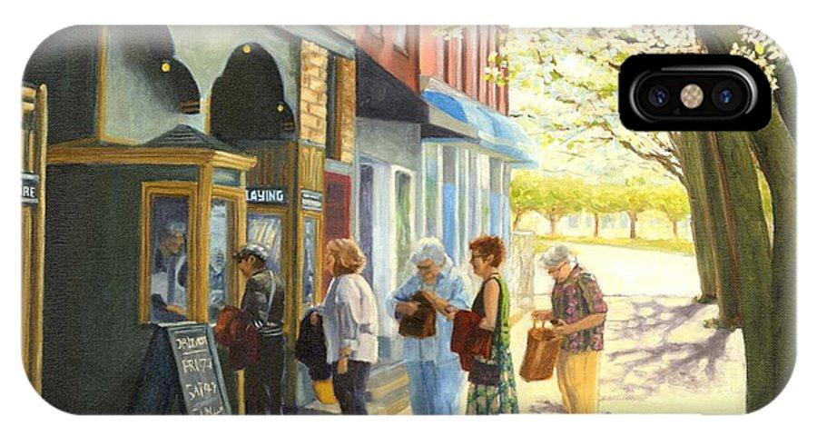 Blossburg Cinema IPhone X Case featuring the painting Spring Screening by Bibi Snelderwaard Brion