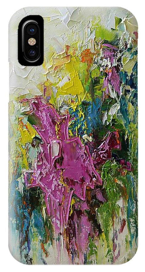 Abstract IPhone X Case featuring the painting Spring Time by Mirjana Gotovac