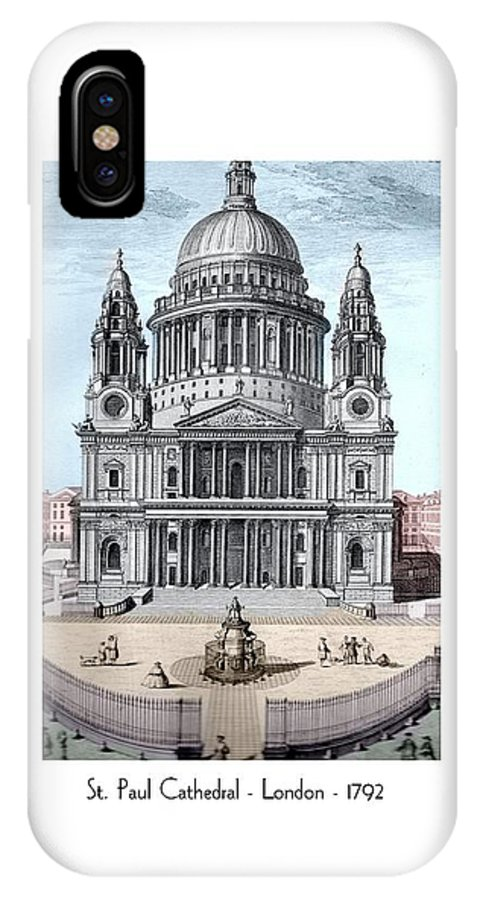 Anglican IPhone X Case featuring the digital art St. Paul Cathedral - London - 1792 by John Madison