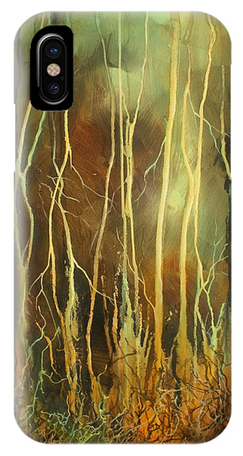 Landscape IPhone X Case featuring the painting 'still' by Michael Lang