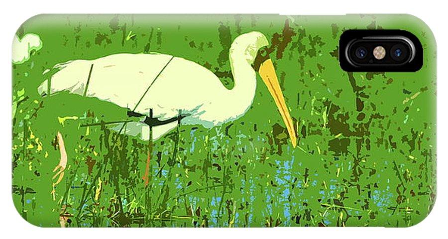Yellow-billed Stork IPhone X Case featuring the digital art Storks by Ronald Jansen