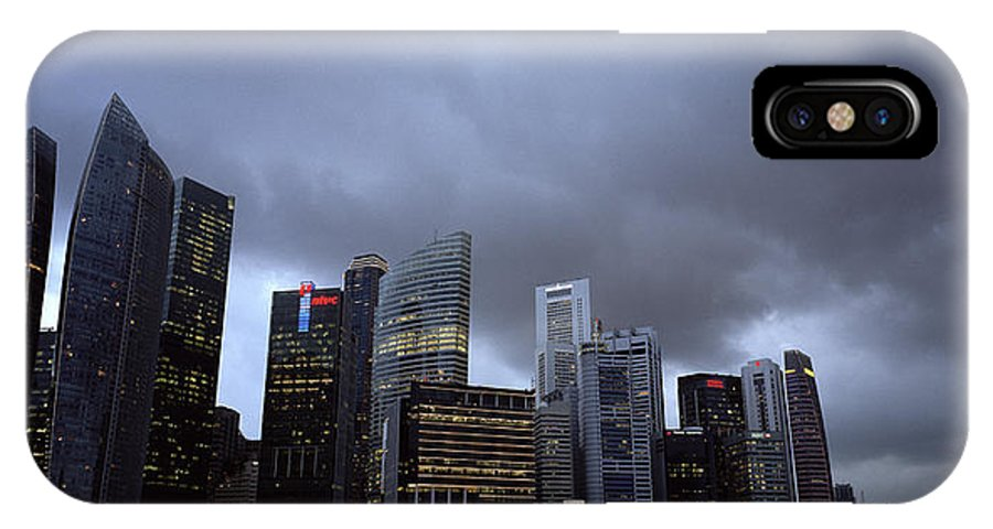 Marina IPhone X Case featuring the photograph Stormy Singapore by Shaun Higson
